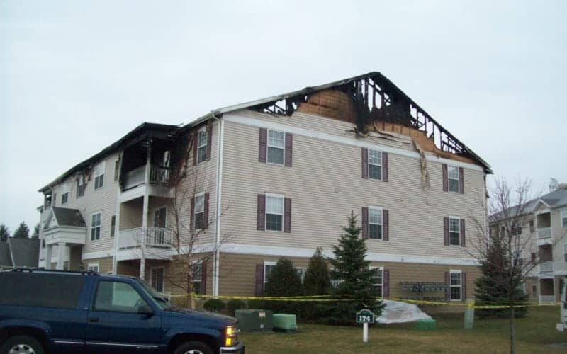 Fire damaged apartment complex in Somerset, OH | Fire and water restoration services Cleveland, OH by Roth Companies and Roth Construction Company services water, fire, smoke damage restoration and remediation for Cleveland, Elyria, Akron, Canton, Sandusky, Youngstown, OH, Ohio areas